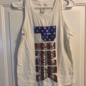 Red white blue Sequin VS PINK tank